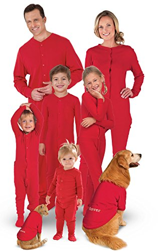 "Nothing says ""Christmas morning"" like a bright red union suit! These  matching human and dog onesies can be personalized with your pets  and  kids  names on ... fb6d5e14c"