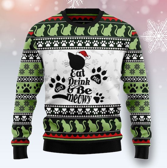 personalized Christmas cat sweater