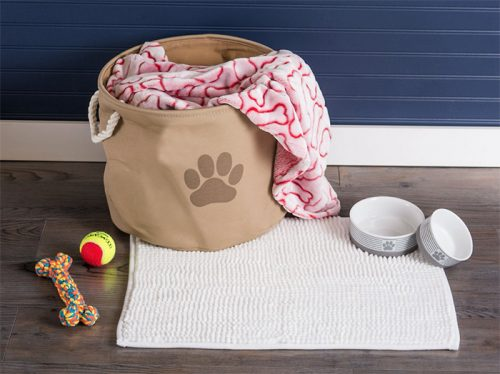 brown Bone Dry fabric bin with toys