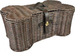 Chewy bone wicker basket dog toy storage