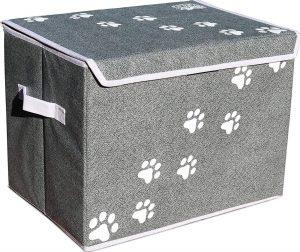gray pet toy storage bin with white paw print detail on sides