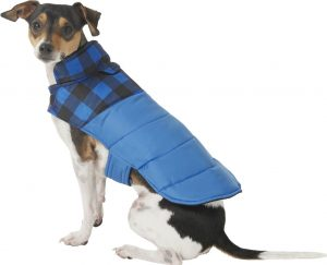 blue Frisco Boulder Plaid insulated puffer coat