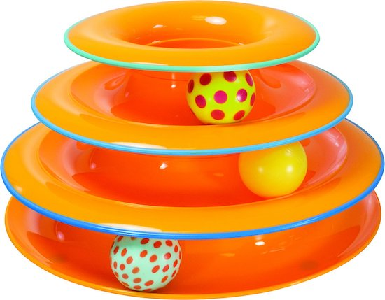 orange Petstages tower toy
