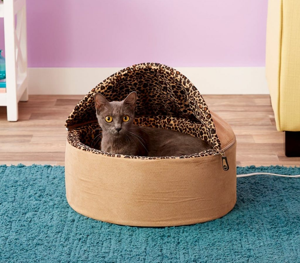 K&H deluxe hooded cat bed with leopard print interior