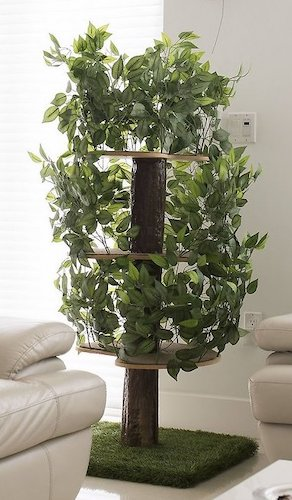 cat tree with platforms and faux foliage