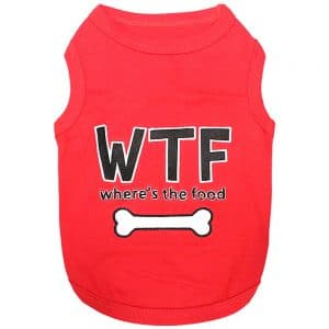 """Parisian Pet red """"WTF Where's the Food"""" t-Shirt"""