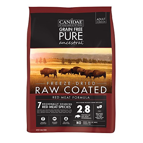 Chewy Canidae grain free pure ancestral freeze dried raw coated red meat formula dog food without chicken