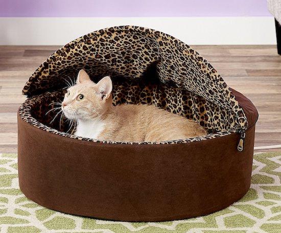 K&H round leopard-print cat cave