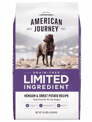 Chewy American Journey grain free limited ingredient venison sweet potato dog food without chicken