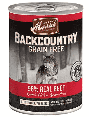 Chewy Merrick backcountry grain free beef dog food without chicken