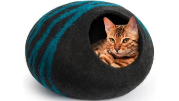 orange cat in felted wool cat cave