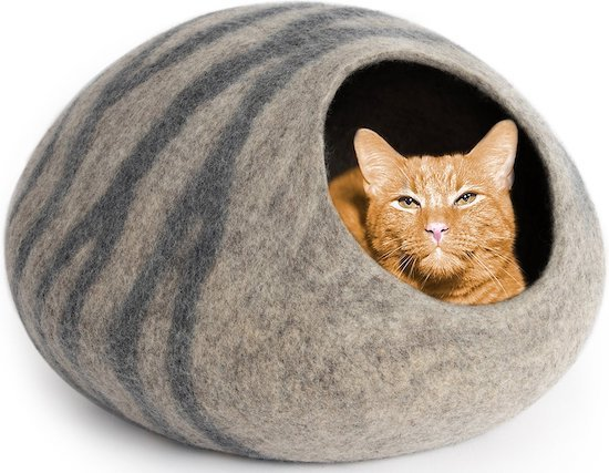Meowfia felted wool cat cave
