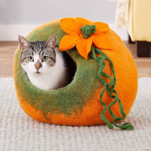cat in felted wool orange flower cat cave