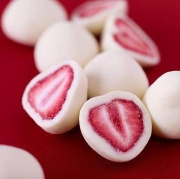 fraises couvertes au yaourt