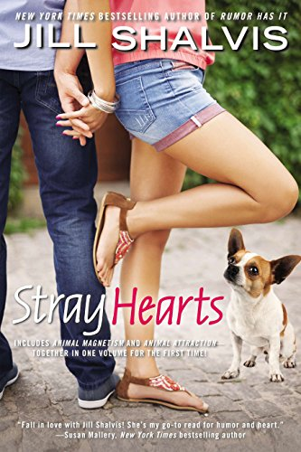 """""""Stray Hearts"""" book cover with two people and a little dog"""