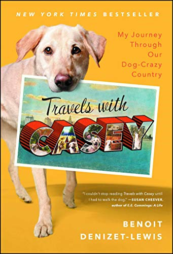 """""""Travels With Casey"""" cover with dog holding postcard in mouth"""