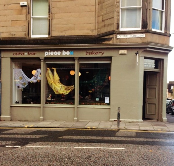 Outside view on the corner of the Piece Box Cafe: DogBuddy's favourite dog-friendly coffee shops in Edinburgh
