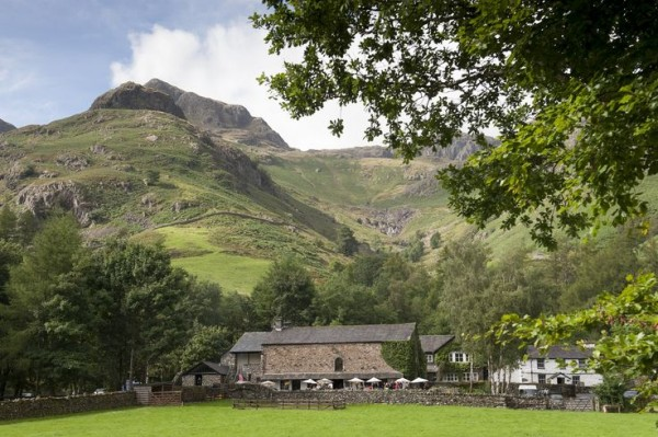 Dog friendly pubs in the Lake District The Sticklebarn Tavern surrounded by rolling hills and mountains