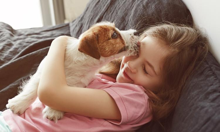 chien qui lèche une petite fille sur le visage
