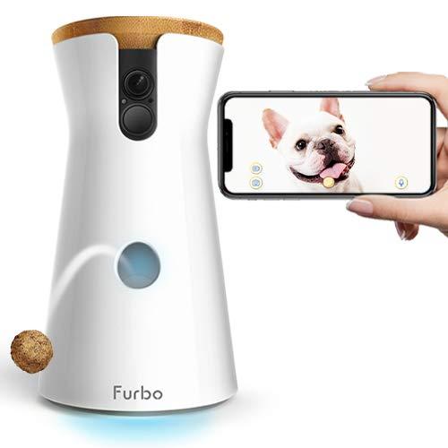 white Furbo dog camera dispensing a treat