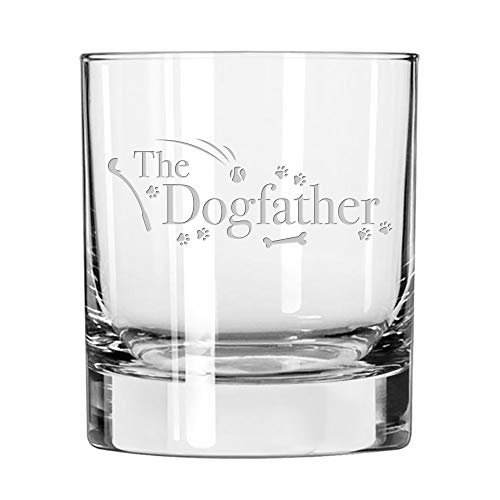 """whiskey tumbler etched with the words """"the dogfather"""""""