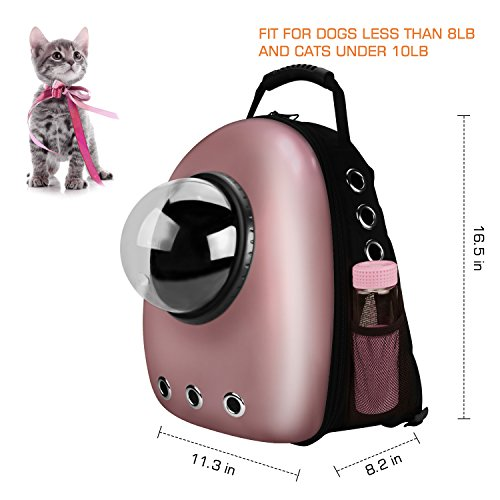 Large Airline Approved Pet Carrier for 20lb Cats /& Small Dogs Cat Backpack Cat Carrier Hiking and Outdoor Use Pink Capsule Bubble Clear Cat Transport Backpack for Travel