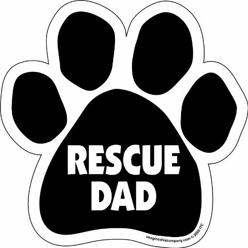 """black paw magnet with """"Rescue Dad"""" text"""