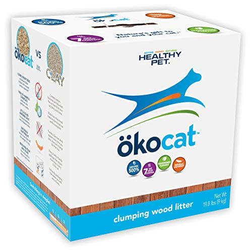 box of Okocat clumping wood litter