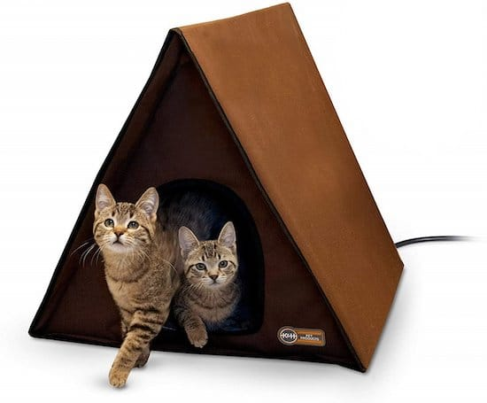 two cats in A-frame cat house