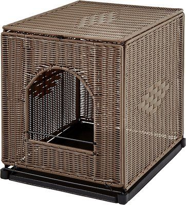 wicker cat litter box enclosure