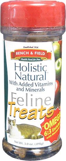 bottle of Bench & Field treats
