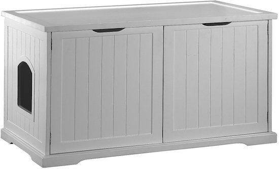 white Merry bench and cat litter box enclosure