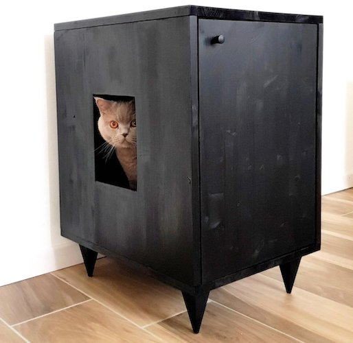 black cabinet-style cat litter box furniture
