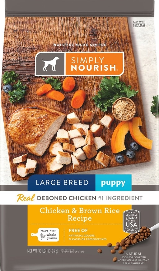 bag of Simply Nourish large breed puppy food