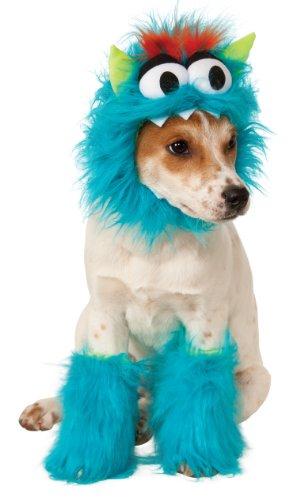 dog in blue monster costume