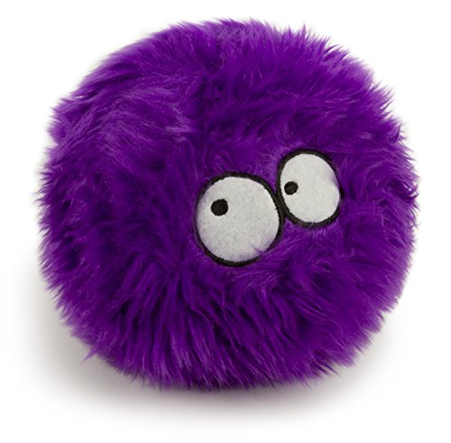 purple plush GoDog squeaky ball with eyes