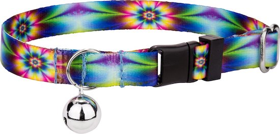tie-dye flowers cat collar with bell