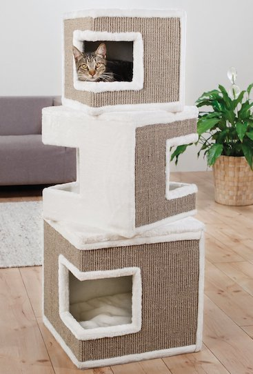 cat in Trixie tower cat condo