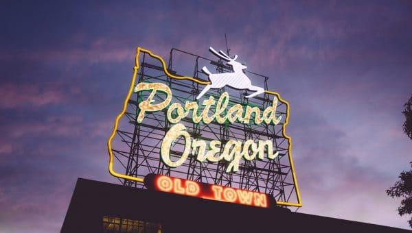 The Portland Oregon sign at dusk