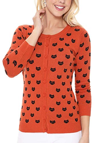red cardigan with black cat head silhouette print for women