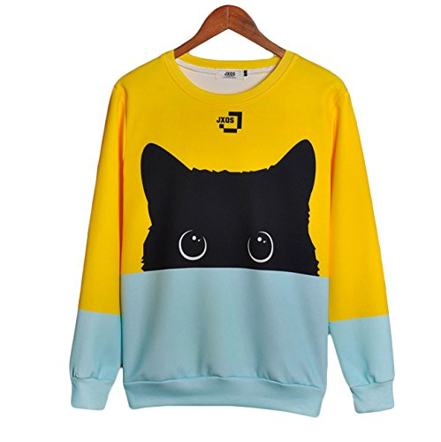 yellow and blue cat sweatshirt for humans
