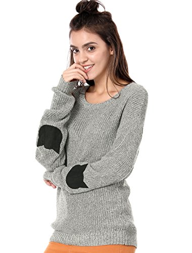 gray sweater with cat head elbow patches