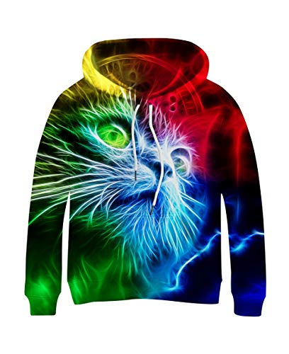colorful psychedelic cat hoodie for humans