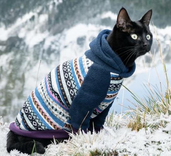 fleece geometric pattern hoodie