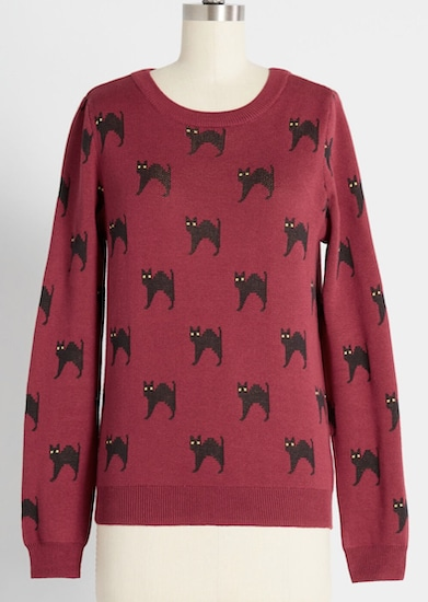 Meow or Never cat sweater for humans