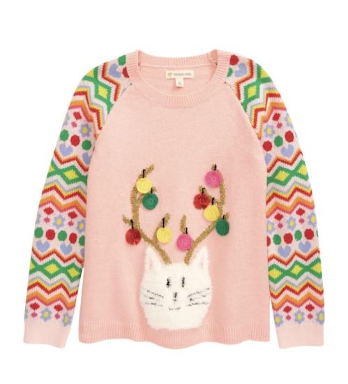 festive kids' cat sweater