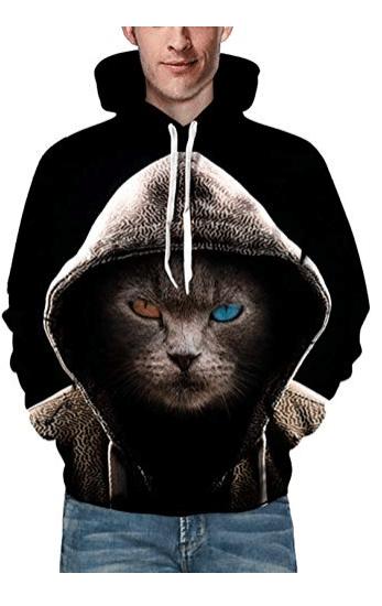 sweatshirt with print of cat in hoodie