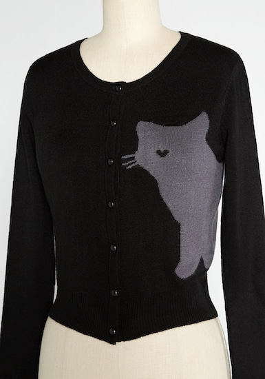 black cardigan with gray cat silhouette