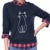 A woman wearing a cozy cat sweater