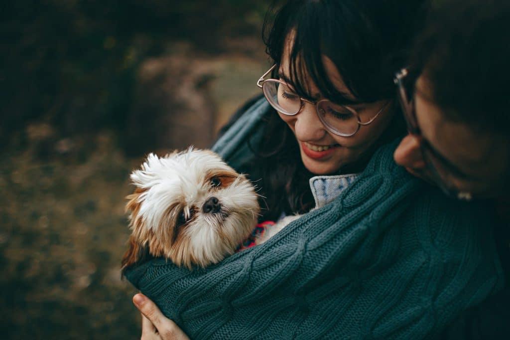 A couple cuddles a small dog